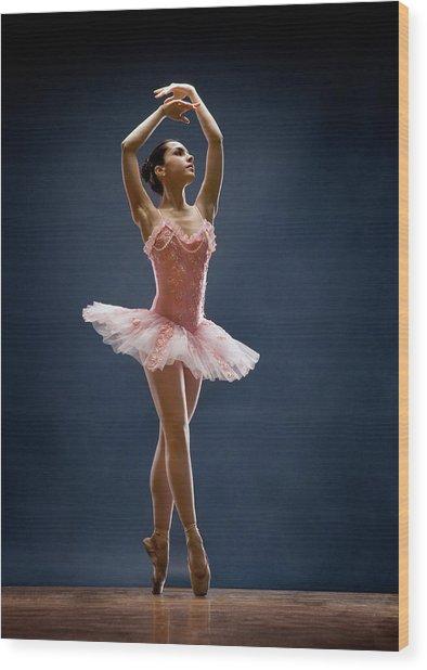 Female Ballet Dancer Dancing Wood Print by David Sacks