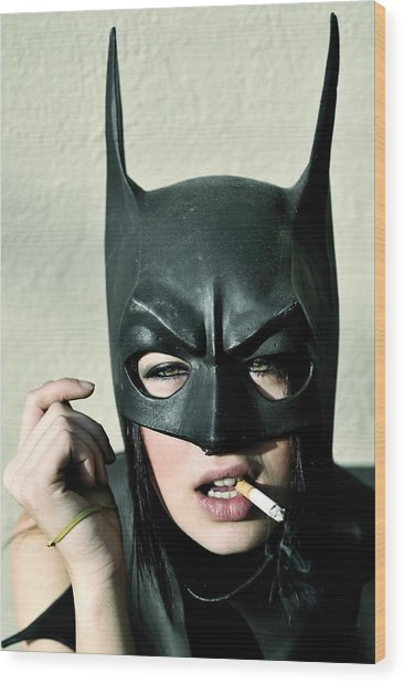 Female Model Smoking With Batman Mask Wood Print by Stephen Albanese