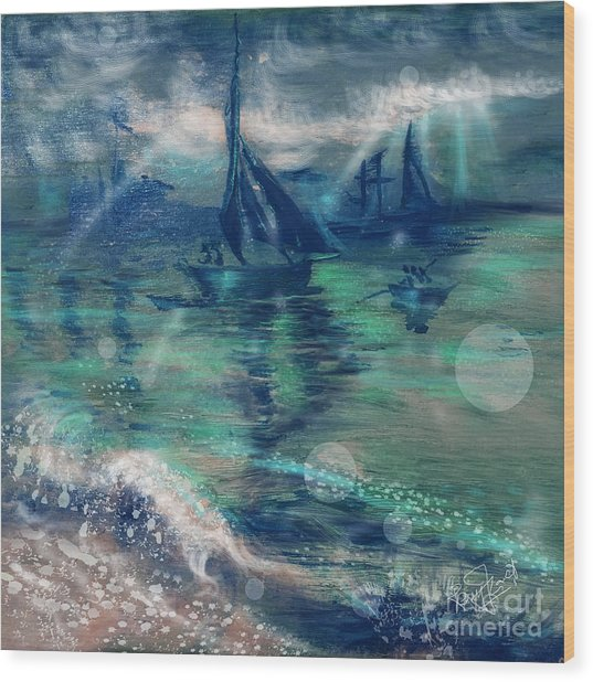 Feng Shui Your Life - Lucky Sailing Boat Wood Print by Remy Francis