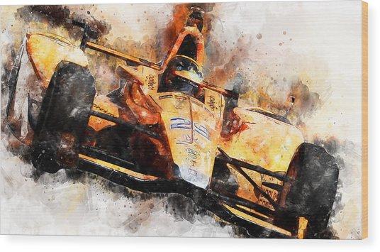 Fernando Alonso, Indy 500 - 04 Wood Print