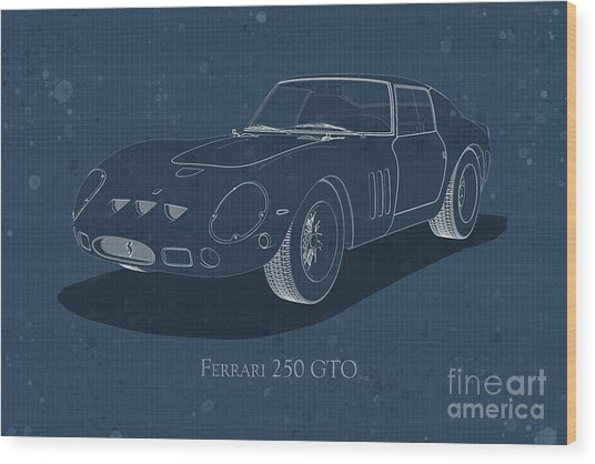 Ferrari 250 Gto - Front View - Stained Blueprint Wood Print