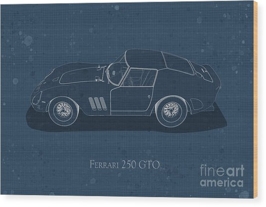 Ferrari 250 Gto - Side View - Stained Blueprint Wood Print