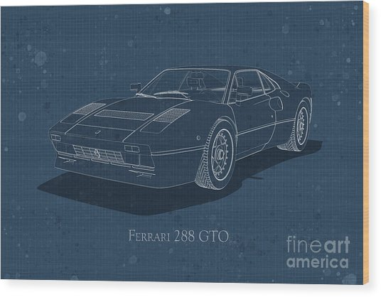 Ferrari 288 Gto - Front View - Stained Blueprint Wood Print