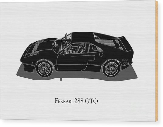 Ferrari 288 Gto - Side View Wood Print