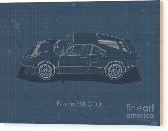 Ferrari 288 Gto - Side View - Stained Blueprint Wood Print