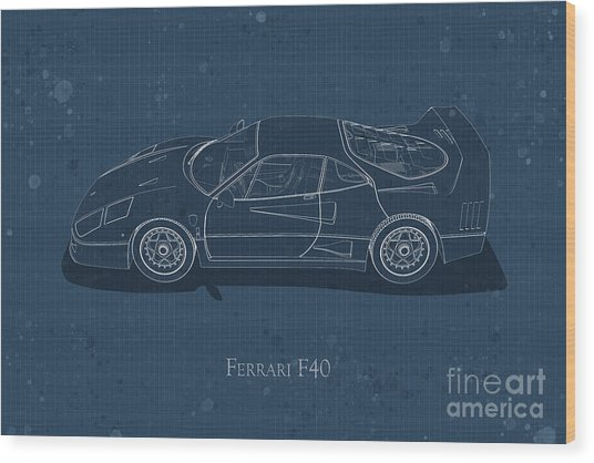 Ferrari F40 - Side View - Stained Blueprint Wood Print