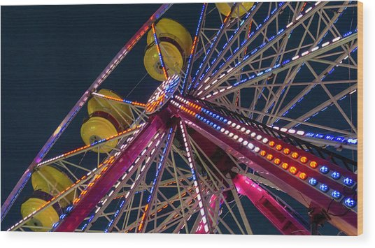 Ferris Wheel At Night Wood Print