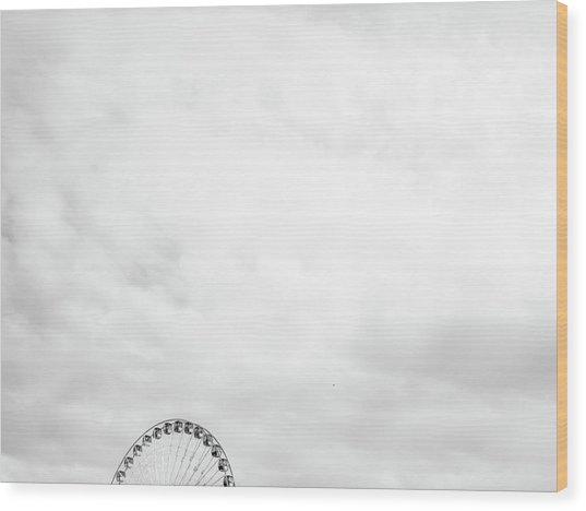 Ferris Wheel Clouds Wood Print