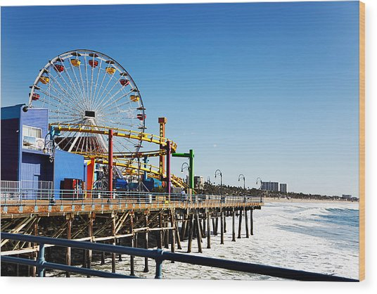 Ferris Wheel On Santa Monica Pier, Los Wood Print