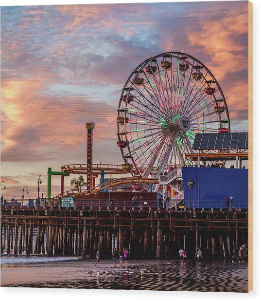 Ferris Wheel On The Pier - Square Wood Print