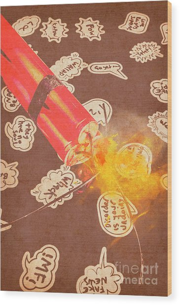Fiery Fuse Wood Print