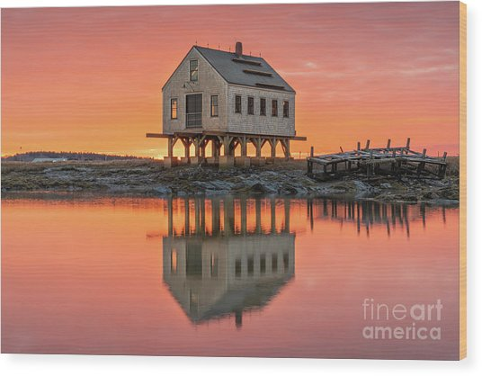 Fiery Skies At Cape Porpoise Wood Print
