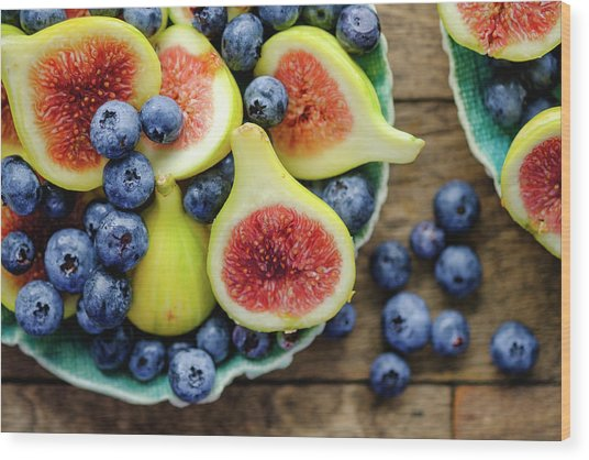 Figs And Blueberries Wood Print