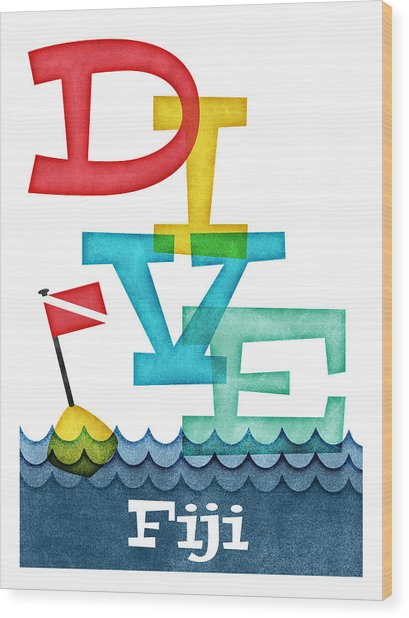 Fiji Dive - Colorful Scuba Wood Print