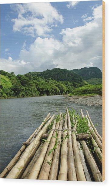 Fiji Sigatoka River Raft Wood Print