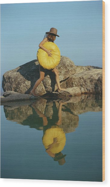 Finding A Spot Wood Print by Slim Aarons