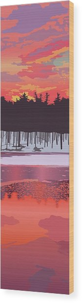 Fire And Ice Wood Print by Marian Federspiel