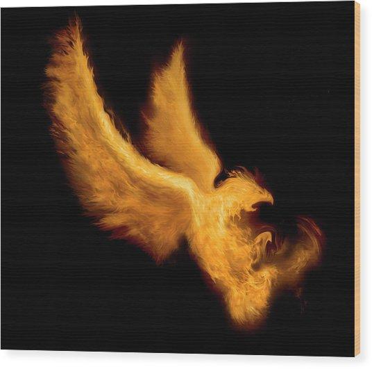 Fire Bird Wood Print by -asi