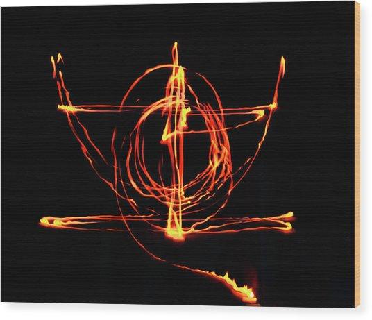 Fire Light Drawing Wood Print