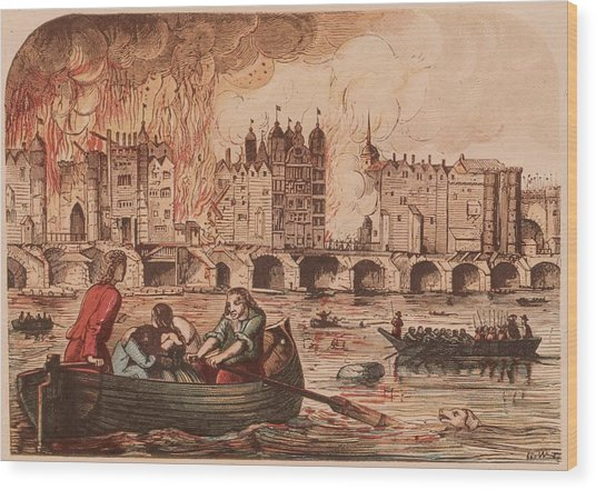 Fire Of London Wood Print by Hulton Archive