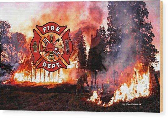 Firefighting 2 Wood Print