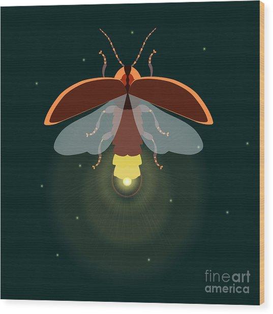 Firefly Design Template. Lightning Bug Wood Print