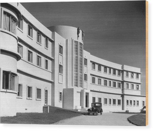First Art Deco Hotel Wood Print by Herbert Felton