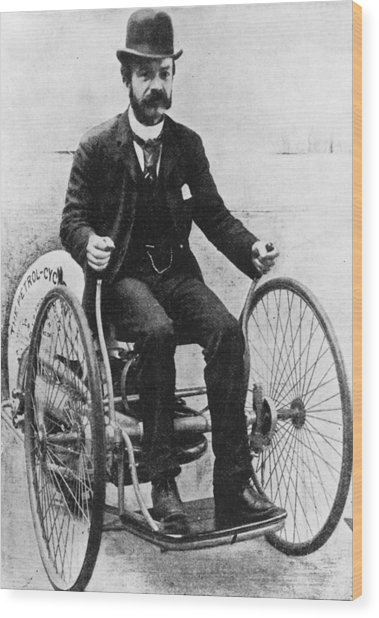 First Biker Wood Print by Illustrated London News