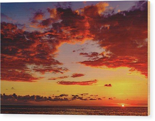 First November Sunset Wood Print