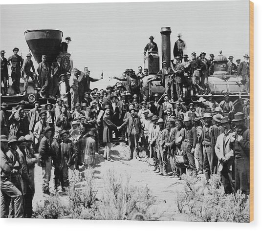 First Opening Of The Transcontinental Railroad - 1869 Wood Print