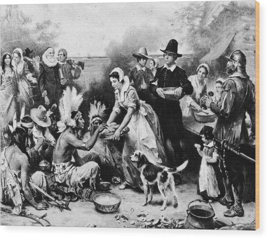 First Thanksgiving Dinner Illustration Wood Print by American Stock Archive