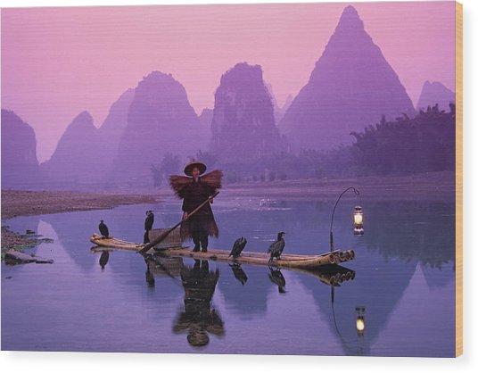 Fisherman On Bamboo Raft With Wood Print