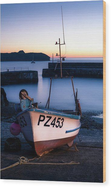 Fishing Boat In Mullion Cove Wood Print