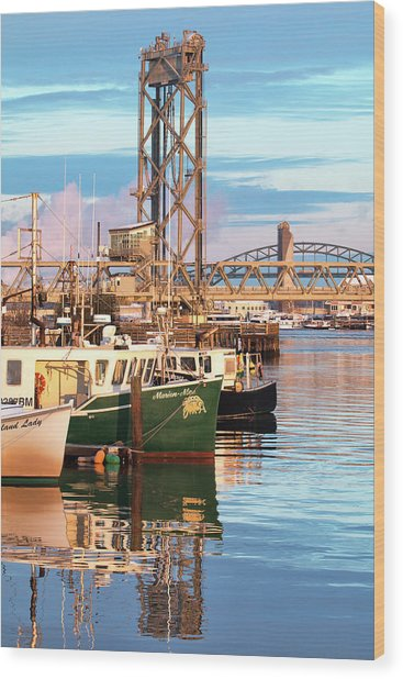 Fishing Boats And Bridges Wood Print by Eric Gendron
