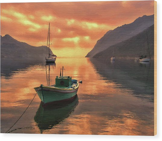 Fishing Boats At Sunset Simi Greek Islands-dwp40406001 Wood Print