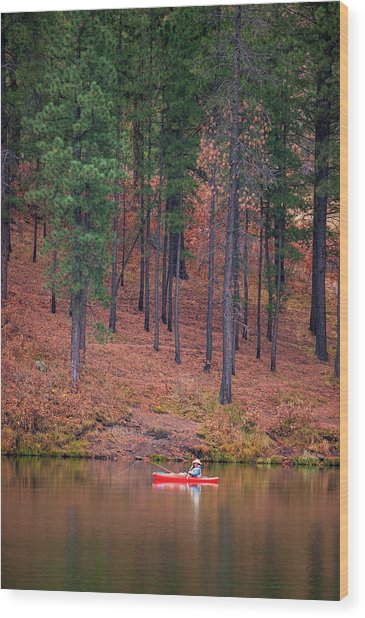 Fishing Fenton Lake Wood Print
