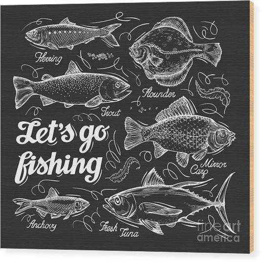 Fishing. Hand Drawn Sketch Fish Wood Print