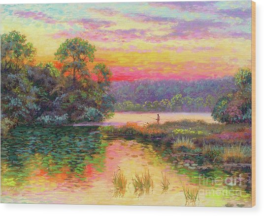Fishing In Evening Glow Wood Print