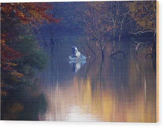 Wood Print featuring the photograph Fishing In The Fall by Mike Murdock
