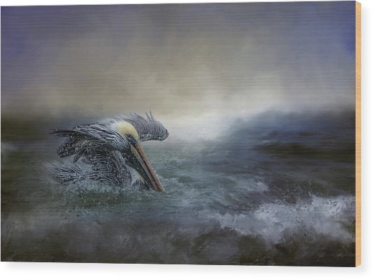 Fishing In The Storm Wood Print