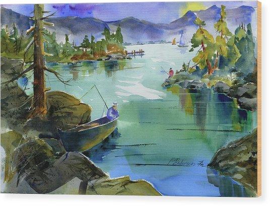 Fishing Lake Tahoe Wood Print