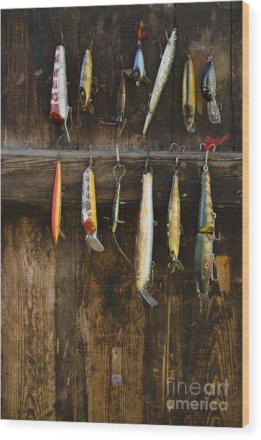 Fishing Lure Hanging On Wall, Sandham Wood Print