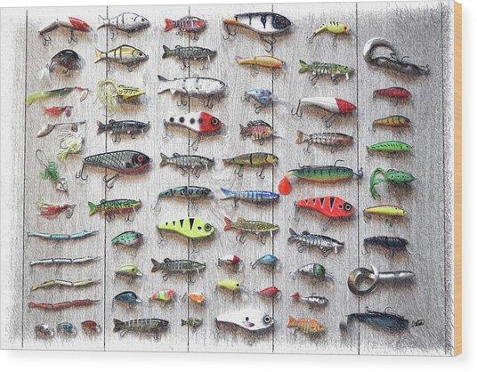 Fishing Lures - Dwp2669219 Wood Print