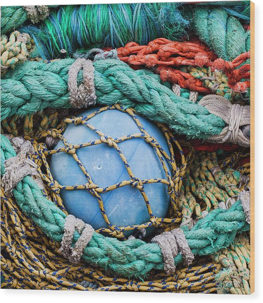 Fishing Nets And Blue Float 7904 Wood Print
