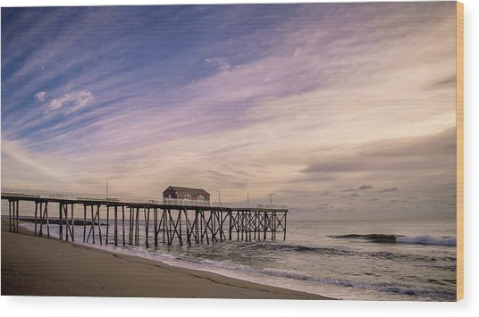 Fishing Pier Sunrise Wood Print