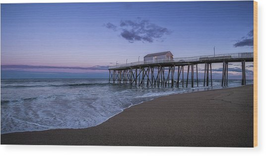 Wood Print featuring the photograph Fishing Pier Sunset by Steve Stanger