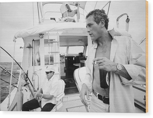 Fishing With Paul Newman Wood Print