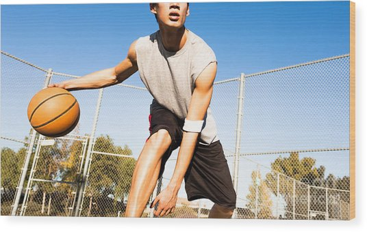 Fit Male Playing Basketball Outdoor Wood Print by Pkpix