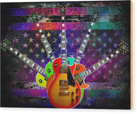 Wood Print featuring the photograph Five Guitars by Guitar Wacky