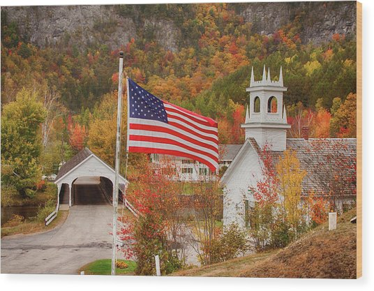 Flag Flying Over The Stark Covered Bridge Wood Print